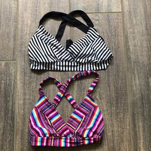 Set of 2 Crossback Striped Bikini Tops